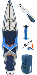 "2019 STX 12'6 x 32 ""Race Aufblasbare Stand Up Paddle Board, Paddel, Tasche, Pumpe & Leine Blau / Weiß / Orange 7065"