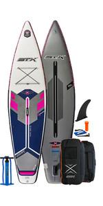 2021 Stx Touring Pure 10'4 Aufblasbares Stand Up Paddle Board Paket - Board, Tasche, Pumpe & Leash - Lila / Blau
