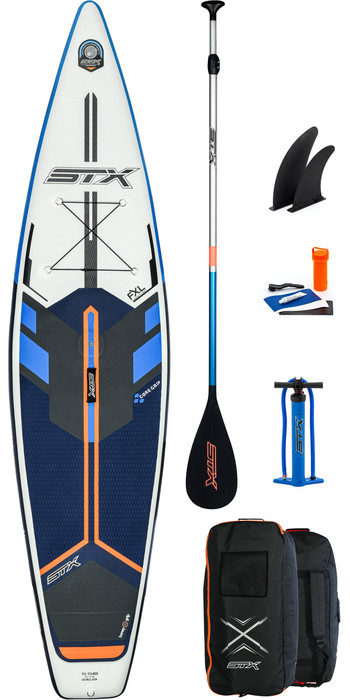 2021 Stx Touring Windsurf 11'6 Aufblasbares Stand Up Paddle Board Paket - Board, Tasche, Paddel, Pump & Leine - Blau / O