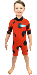 2021 Saltskin Junior 2mm Back Zip Shorty Wetsuit STSKNLADYBD02 - Ladybird
