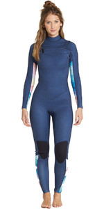 2019 Billabong Vrouwen Salty Dayz 3/2mm Chest Zip Wetsuit Blue Swell L43g01
