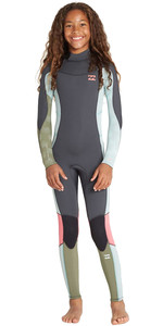 2019 Billabong Júnior Menina Synergy Do Furnace 3/2mm Back Zip Gbs Wetsuit Seafoam N43b07