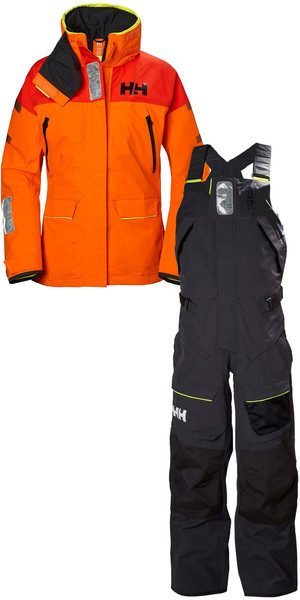 Helly Hansen Womens Skagen Offshore Jacket 33920 & Hose 33921 Kombiset Blaze Orange / Ebenholz
