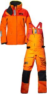 2019 Helly Hansen Womens Skagen Offshore Jacket 33920 & Trouser 33921 Combi Set Blaze Orange