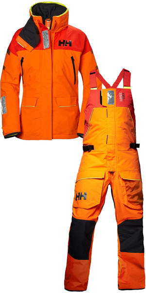 2019 Helly Hansen Womens Skagen Offshore Jacket 33920 & Hose 33921 Kombiset Blaze Orange