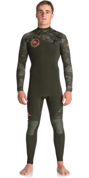 2018 Quiksilver Syncro Series 5/4/3mm Chest Zip GBS Wetsuit DARK IVY / CAMO EQYW103066