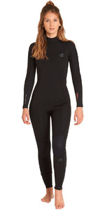 2019 Billabong Mulheres Furnace Synergy 5/4mm Back Zip Wetsuit Preto L45g04