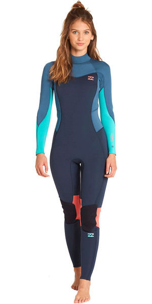 2018 Billabong Womens Armadio Synergy 4 / 3mm Zip posteriore muta in ardesia L44G04