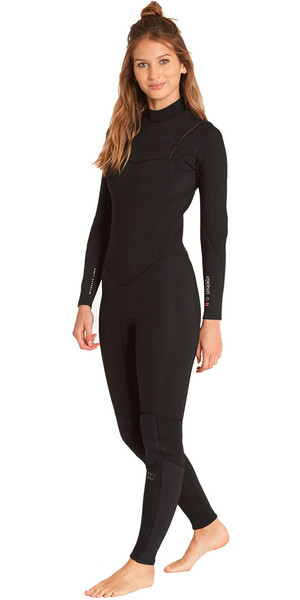2018 Billabong Womens Furnace Synergy 4 / 3mm Chest Zip Wetsuit Negro L44G03