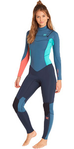 2019 Billabong Mulheres Furnace Synergy 5/4mm Chest Zip Wetsuit Ardósia L45g03