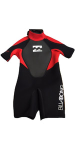 2018 Billabong TODDLER Intruder 2mm Back Zip Shorty Wetsuit Black / Red S42B09