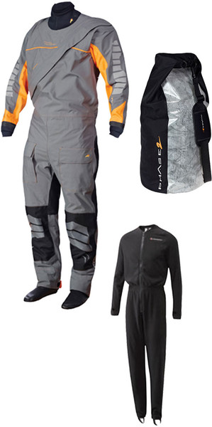 Crewsaver Junior J5 Phase 2 Drysuit Grau / Orange + UNDERSUIT & Drybag 6923