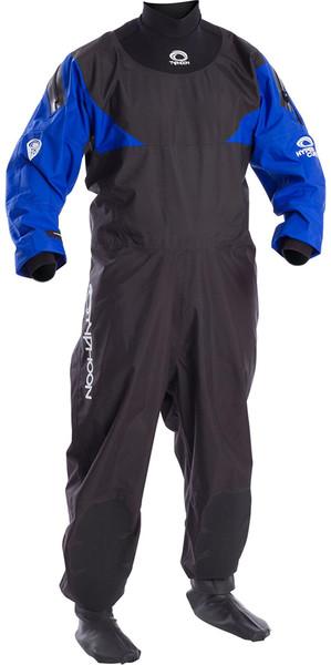 2019 Typhoon Hypercurve 4 Back Zip Drysuit with Socks Black / Blue 100169