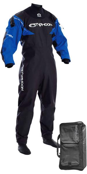 Combinaison Drysuit avec chaussettes Typhoon Hypercurve 3 dos Drysuit avec chaussettes noir / bleu, y compris sac de morses 1001