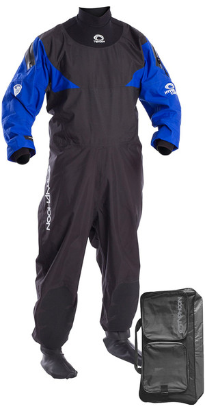 2019 Typhoon Hypercurve 4 Back Zip Drysuit Black / Blue Including Kit Bag 100169