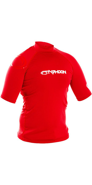 2018 Typhoon Junior Short Sleeve Rash Vest Rich Red 430072