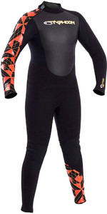 2019 Typhoon Junior Storm 3 / 2mm Flatlock Tilbage Zip Wetsuit Black / Orange 250923