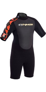 Combinaison Néoprène 2019 Typhoon Junior Flatlock 3/2mm Flatlock Shorty Noir / Orange 250933