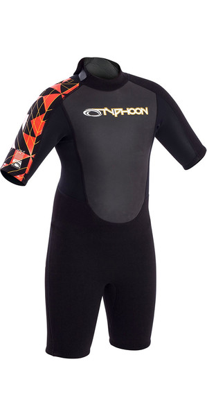 2019 Typhoon Junior Storm 3/2mm Flatlock Shorty Wetsuit Black / Orange 250933