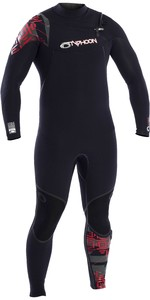 2020 Typhoon Kona 5/4mm Gbs Chest Zip Wetsuit 250.612 - Schwarz / Rot