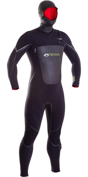 2019 Typhoon Hooded Kona 6/5 / 4mm GBS Borst Zip Wetsuit ZWART 250615