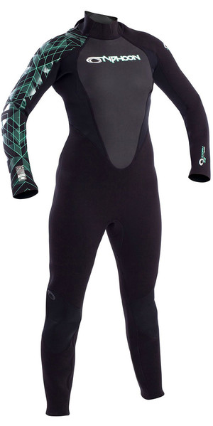 2019 Typhoon Womens Storm 3/2mm Back Zip Wetsuit Black / Aqua Green 250883