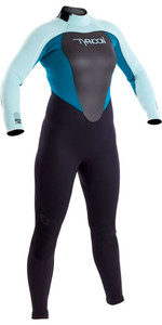 2019 Typhoon Womens Vortex 5/4/3mm GBS Back Zip Wetsuit Black / Glacier Blue / Spruce 250682