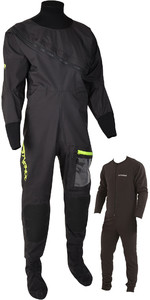 2020 Typhoon Homens Ezeedon 4 Front Zip Drysuit & Underfleece Livre 100174 - Preto