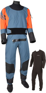 2019 Typhoon Multisport 5 Rapid Drysuit with Convenience Zip & Free Underfleece 100181 - Teal / Orange