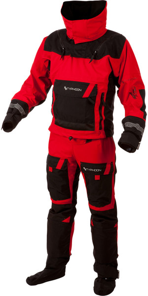 2018 Typhoon PS330 Extreme Kayak / Ocean Drysuit + Con Zip Nero / Rosso 100151