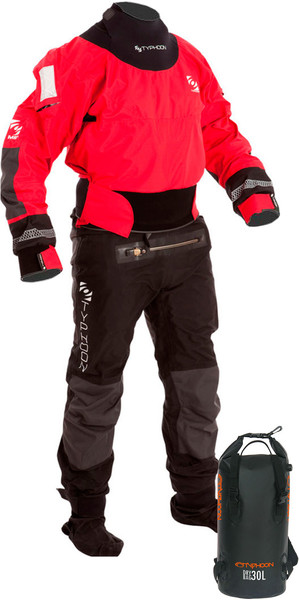 2019 Typhoon Multisport 4 Fire Drysuit Inklusiv Con Zip & Backpack Dry Bag Rød / Sort 100140