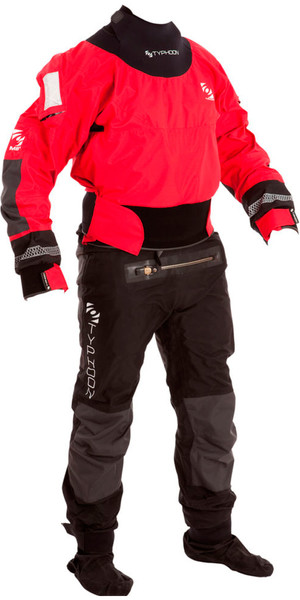 2019 Typhoon Multisport 4 Four Drysuit Including Con Zip Bag Red / Black 100140