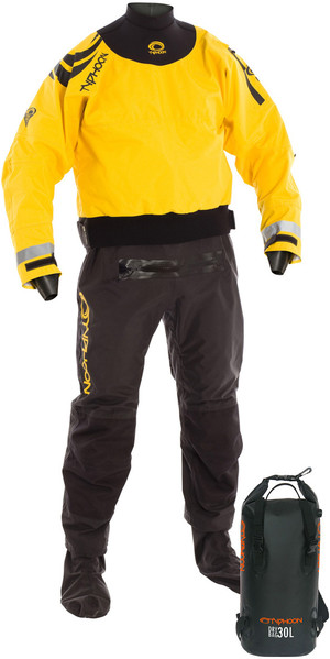 2019 Typhoon Multisport 5 Cerniera Drysuit inclusa Con Zip e zaino Dry Bag NERO / GIALLO 100165