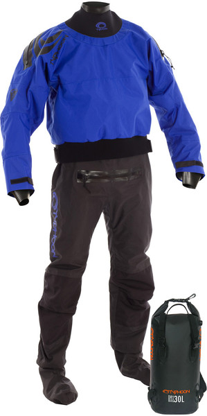 2018 Typhoon Multisport 5 Latex Seal Drysuit + Con Zip BLU / NERO Compreso 30L Drybackpack 100166