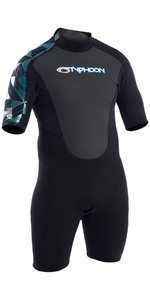 2019 Typhoon Storm 3/2mm Shorty Wetsuit Zwart / Blauw 250793