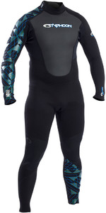 2019 Typhoon Storm 3/2mm Flatlock Back Zip Wetsuit Zwart / Blauw 250784