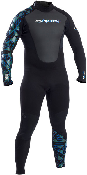 2019 Typhoon Storm 3/2mm Flatlock Back Zip Wetsuit Black / Blue 250784