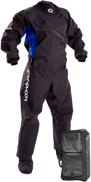 2019 Typhoon Womens Ezeedon 3 Front Zip Drysuit Black / Blue Including Kit Bag 100159