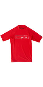 2020 Billabong Junior Boy's Unity Manica Corta Rash Vest S4ky21 - Rosso