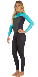 Rip Curl Womens Omega 4/3mm GBS Back Zip Wetsuit Black / Turquoise 2ND WSM4CW
