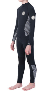 2019 Rip Curl Junior Girls Dawn Patrol 3/2mm GBS Back Zip Wetsuit Black / White WSM8AS