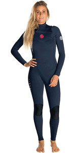 2019 Rip Curl Vrouwen Dawn Patrol 3/2mm Gbs Chest Zip Wetsuit Navy Wsm8kw