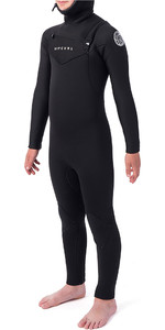 2019 Rip Curl Junior Dawn Patrol 5/4mm Hooded Wetsuit Met Chest Zip Zwart WSM9HB