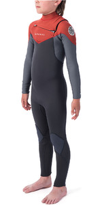2019 Rip Curl Dawn Patrol Júnior Dawn Patrol 4/3mm Chest Zip Wetsuit Laranja Queimado Wsm9lb