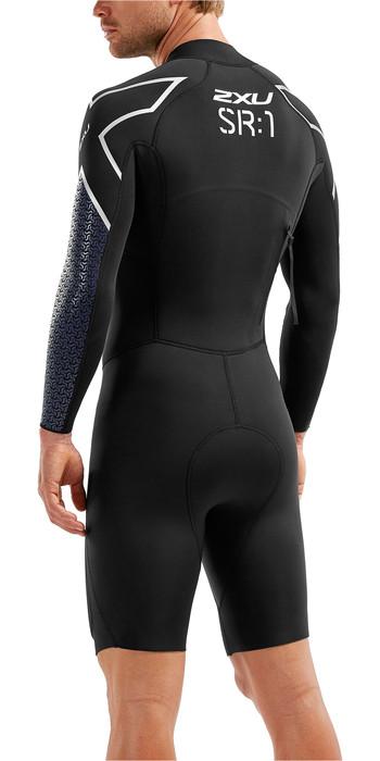 2021 2xu Herren Pro Swim-Run SR1 Neoprenanzug Schwarz / Blau Surf Print MW5479C