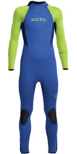 2020 Xcel Junior Xcel 5/4mm Back Zip Combinaison KN54AXG0B - Bleu / Lime