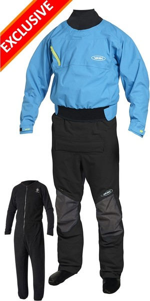 2019 Yak Vanguard Whitewater / Kayak Drysuit Inc Underfleece Blu / Nero 2734