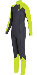2019 Billabong Junior Jongen Furnace Absolute 4/3mm Back Zip Wetsuit Neon Geel N44b02