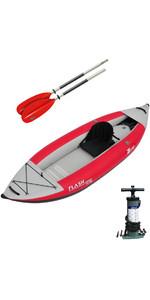 2019 Z-Pro Flash 1 Man Kayak inflable de alta presión, paleta y bomba roja FL100