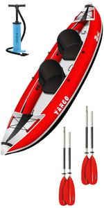 2019 Z-pro Tango 200 1-2 Kayak Gonfiabile Uomo Ta200 Rosso + 2 Pagaie Gratuite + Pompa